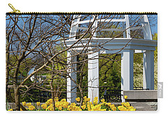 Carry-all Pouch featuring the photograph Yellow Tulips And Gazebo by Tom Mc Nemar