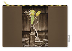 Yellow Tulips In Glass Bottle Sepia Carry-all Pouch by Terry DeLuco