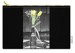 Yellow Tulips In Glass Bottle Carry-all Pouch by Terry DeLuco