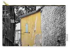 Carry-all Pouch featuring the photograph Yellow Wall by Rasma Bertz