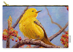 Carry-all Pouch featuring the painting Yellow Warbler by Joe Bergholm