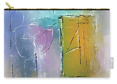 Carry-all Pouch featuring the mixed media Yellows And Blues by Eduardo Tavares