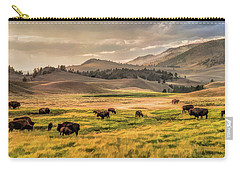 Yellowstone National Park Lamar Valley Bison Grazing Carry-all Pouch