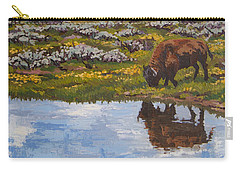 Carry-all Pouch featuring the painting Yellowstone Reflections by Erin Fickert-Rowland