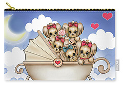 Yorkie Babies Strolling  Carry-all Pouch