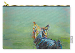 Yorkie In The Grass Carry-all Pouch by Kimberly Santini