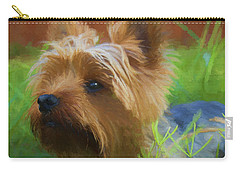Carry-all Pouch featuring the painting Yorkie In The Grass - Painting by Ericamaxine Price