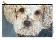 Carry-all Pouch featuring the painting Yorkie Portrait by Karen Zuk Rosenblatt