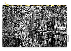 Carry-all Pouch featuring the photograph Yosemite Falls From The Swinging Bridge In Black And White by Bill Gallagher