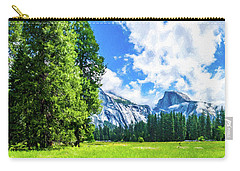 Yosemite Valley And Half Dome Digital Painting Carry-all Pouch