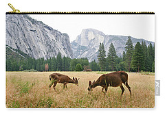 Yosemite's Half Dome And Two Deer Carry-all Pouch