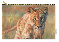 Carry-all Pouch featuring the painting Youn Lion by David Stribbling