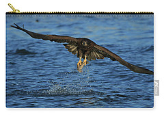 Carry-all Pouch featuring the photograph Young Bald Eagle Catching Fish by Coby Cooper