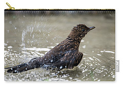 Carry-all Pouch featuring the photograph Young Blackbird's Bath by Torbjorn Swenelius