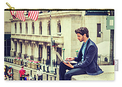 Young Businessman Working On Wall Street In New York Carry-all Pouch
