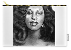 Carry-all Pouch featuring the drawing Young Chaka Khan - Charcoal Art Drawing by Ai P Nilson