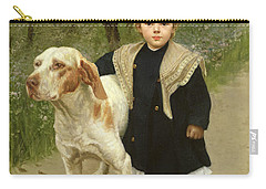 Young Child And A Big Dog Carry-all Pouch by Luigi Toro
