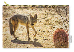 Young Coyote And Cactus Carry-all Pouch
