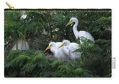 Young Egrets Fledgling And Waiting For Food-digitart Carry-all Pouch