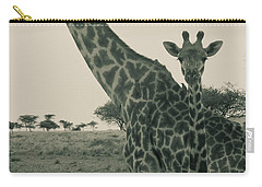 Young Giraffe With Mom In Sepia Carry-all Pouch by Darcy Michaelchuk