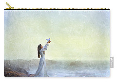 Young Lady Releasing A Dove By The Sea Carry-all Pouch