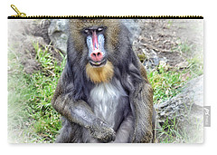 Carry-all Pouch featuring the photograph Young Mandrill Fade To White Version by Jim Fitzpatrick