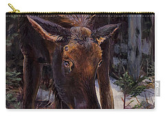Young Moose And Pussy Willows Springtime In Alaska Wildlife Painting Carry-all Pouch