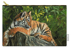 Carry-all Pouch featuring the painting Young Tiger Resting On Rock by David Stribbling