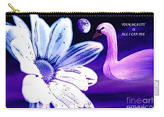 Your Beauty With Swan Moon And White Flower Carry-all Pouch