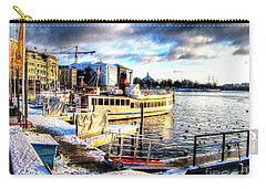Carry-all Pouch featuring the pyrography Yury Bashkin Stockholm Swiss Winter by Yury Bashkin