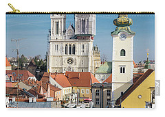 Zagreb Cathedral And St. Mary's Church Carry-all Pouch by Steven Richman