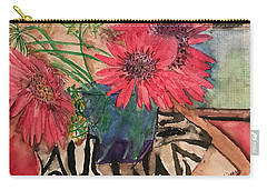 Zebra And Red Sunflowers  Carry-all Pouch