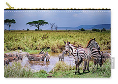 Zebra At The Watering Hole Carry-all Pouch by Janis Knight