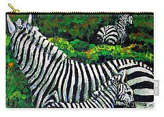 Zebra Family Carry-all Pouch by Shirley Heyn