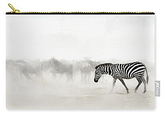 Zebra In Dust Of Africa Carry-all Pouch