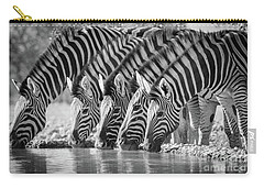 Zebras Drinking Carry-all Pouch by Inge Johnsson