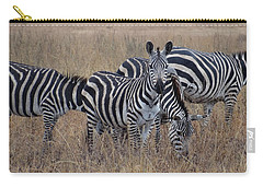 Zebras Walking In The Grass 2 Carry-all Pouch by Exploramum Exploramum