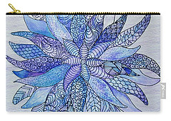 Carry-all Pouch featuring the drawing Zen Flower Mandala by Megan Walsh