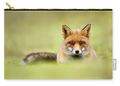 Zen Fox Series - Zen Fox In A Sea Of Green Carry-all Pouch by Roeselien Raimond