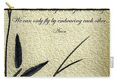Zen Sumi 4d Antique Motivational Flower Ink On Watercolor Paper By Ricardos Carry-all Pouch