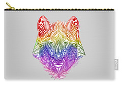 Zentangle Inspired Art- Rainbow Wolf Carry-all Pouch