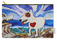 Carry-all Pouch featuring the painting Zephyr Dog Goes To The Beach by Dianne  Connolly