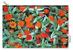Carry-all Pouch featuring the photograph Zinnia Flower - Profusion Orange by Janine Riley