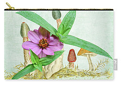 Zinnia In The Mushrooms Carry-all Pouch by Larry Bishop