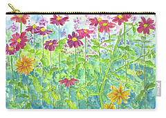 Carry-all Pouch featuring the painting Zinnias  by Cathie Richardson