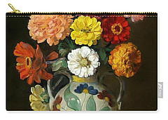 Zinnias In Decorative Italian Vase Carry-all Pouch