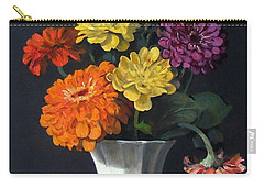 Zinnias Showing Their True Colors In White Vase Carry-all Pouch