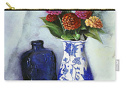 Zinnias With Blue Bottle Carry-all Pouch by Marlene Book