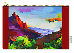 Zion - The Watchman And The Virgin River Carry-all Pouch by Elise Palmigiani