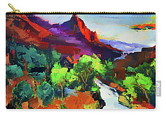 Zion - The Watchman And The Virgin River Vista Carry-all Pouch by Elise Palmigiani
